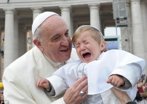 pope with crying kid